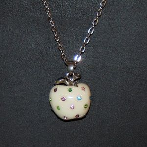 Silver Tone Chain Link Necklace w/ Crystal Apple